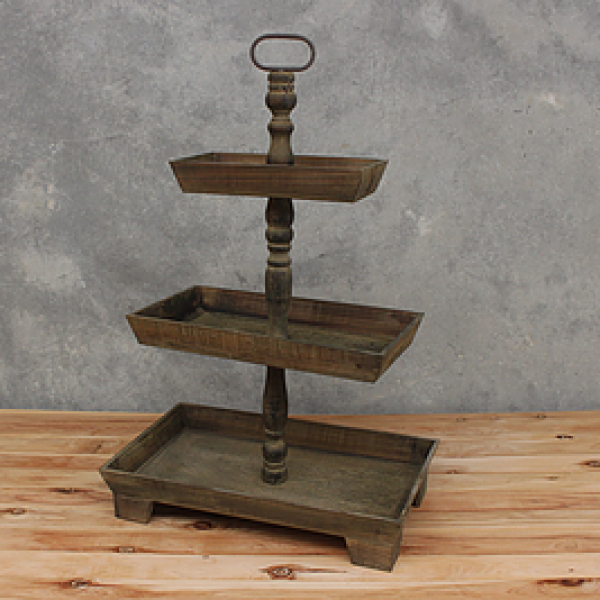 Fresh 3 Tier Rustic Wooden Rectangle Cake Stand - NPM Events DD51